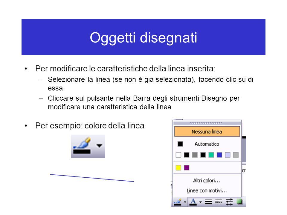 Oggetti disegnati Per modificare le caratteristiche della linea inserita: Selezionare la linea (se non è già selezionata), facendo clic su di essa.