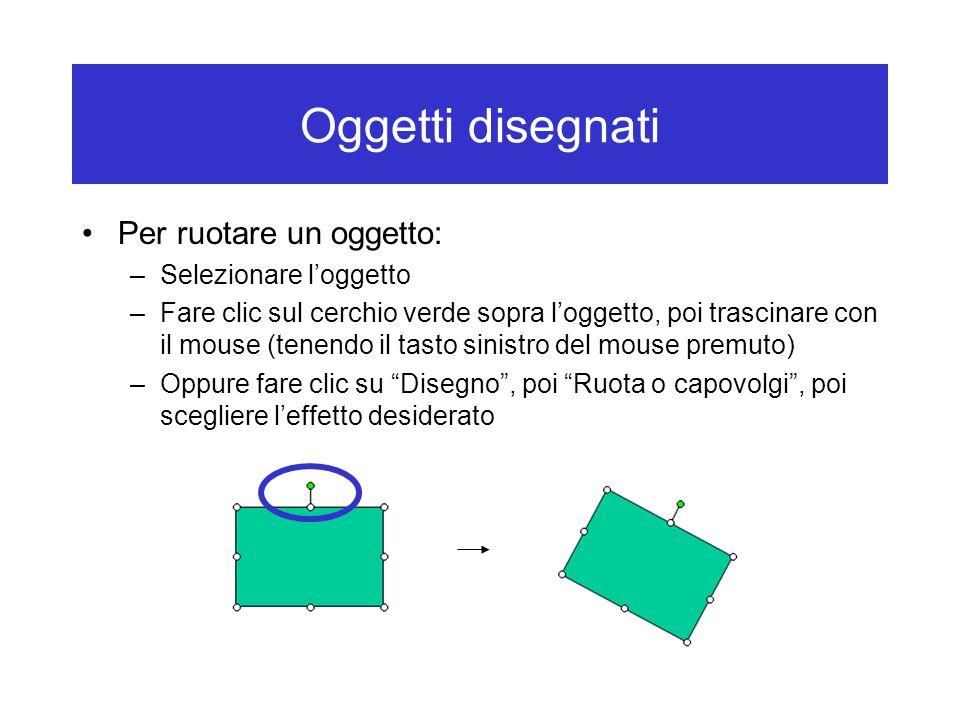 Oggetti disegnati Per ruotare un oggetto: Selezionare l'oggetto