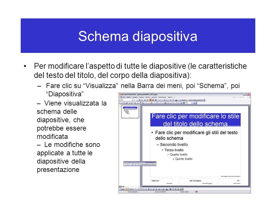 Schema diapositiva Per modificare l'aspetto di tutte le diapositive (le caratteristiche del testo del titolo, del corpo della diapositiva):