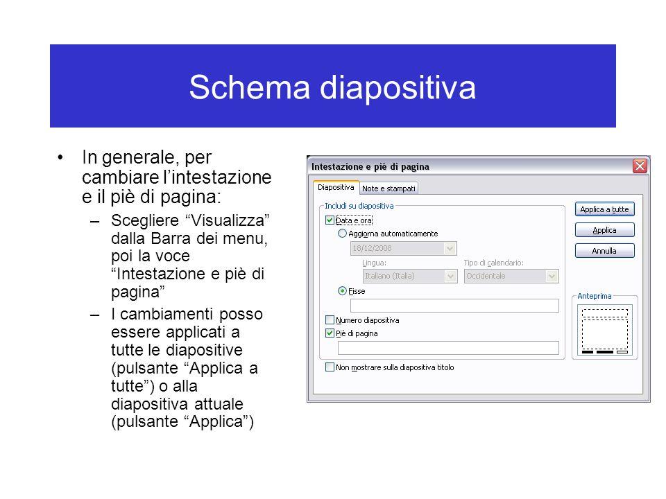 Schema diapositiva In generale, per cambiare l'intestazione e il piè di pagina: