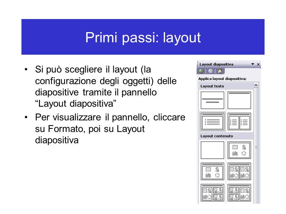 Primi passi: layout Si può scegliere il layout (la configurazione degli oggetti) delle diapositive tramite il pannello Layout diapositiva