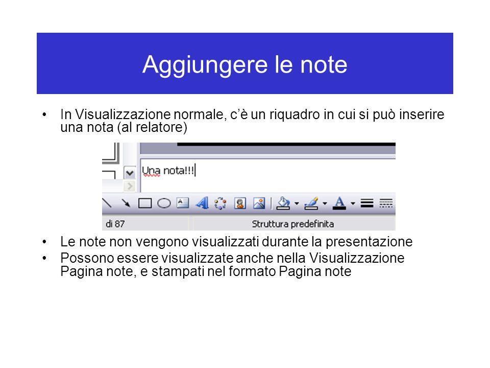Aggiungere le note In Visualizzazione normale, c'è un riquadro in cui si può inserire una nota (al relatore)