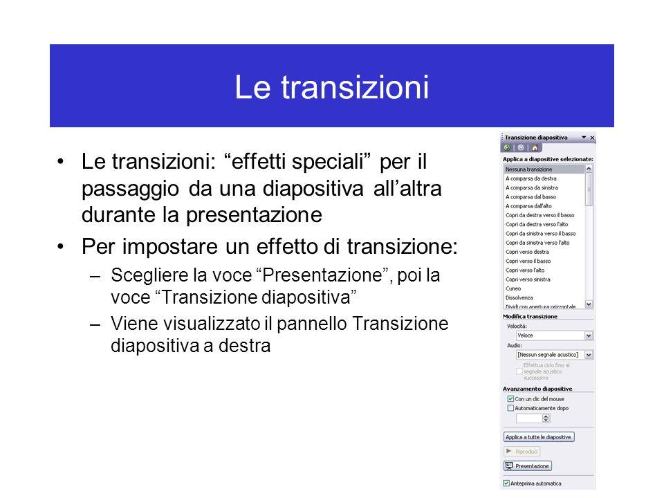Le transizioni Le transizioni: effetti speciali per il passaggio da una diapositiva all'altra durante la presentazione.