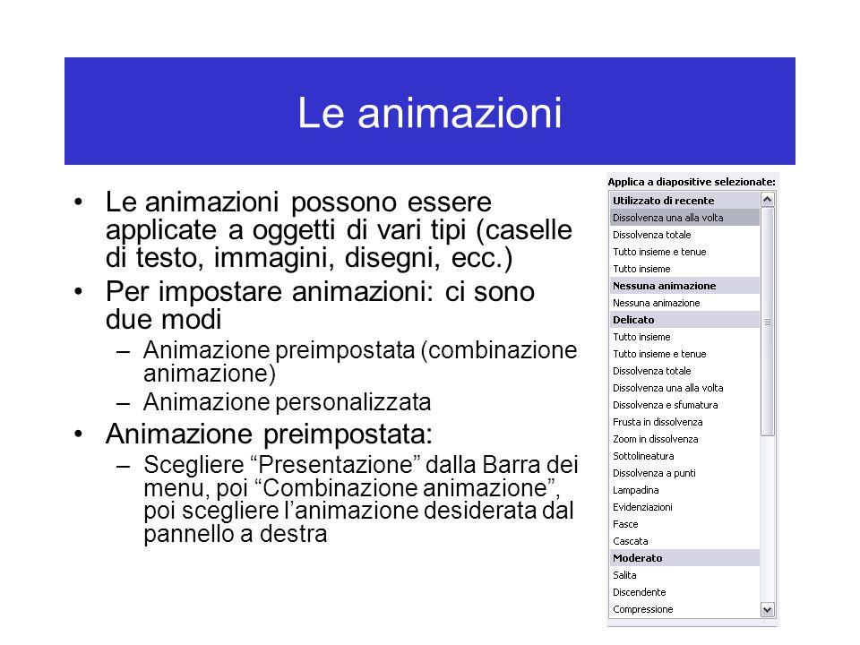Le animazioni Le animazioni possono essere applicate a oggetti di vari tipi (caselle di testo, immagini, disegni, ecc.)