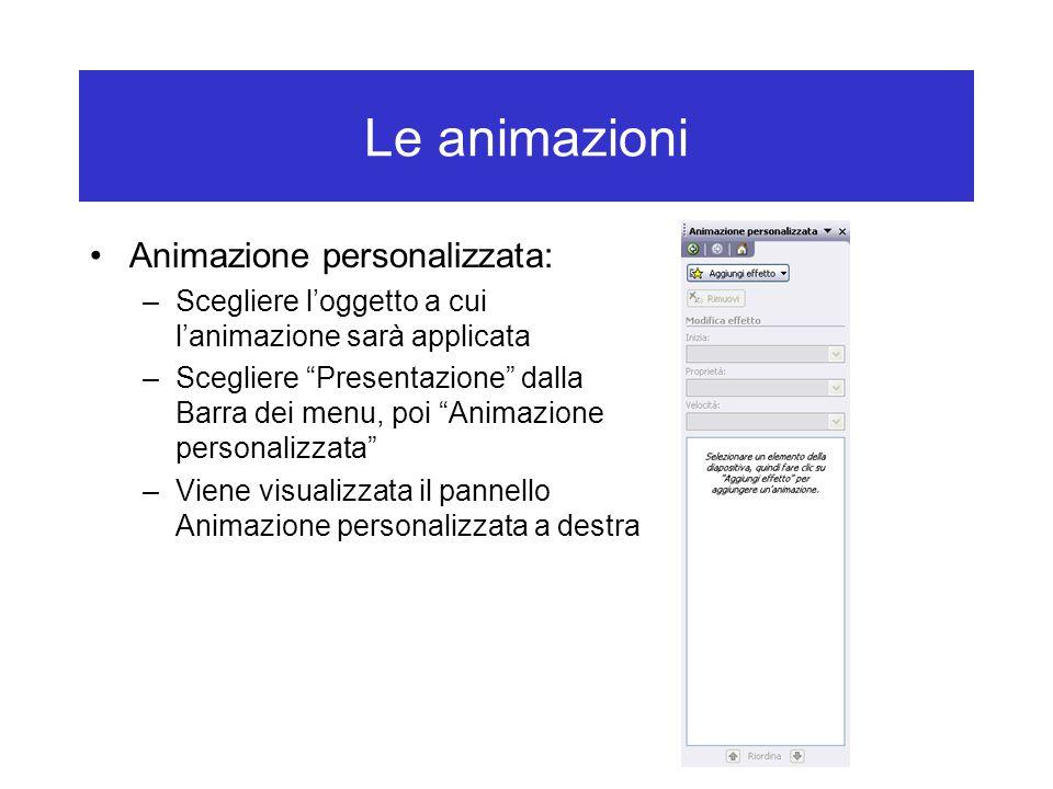 Le animazioni Animazione personalizzata: