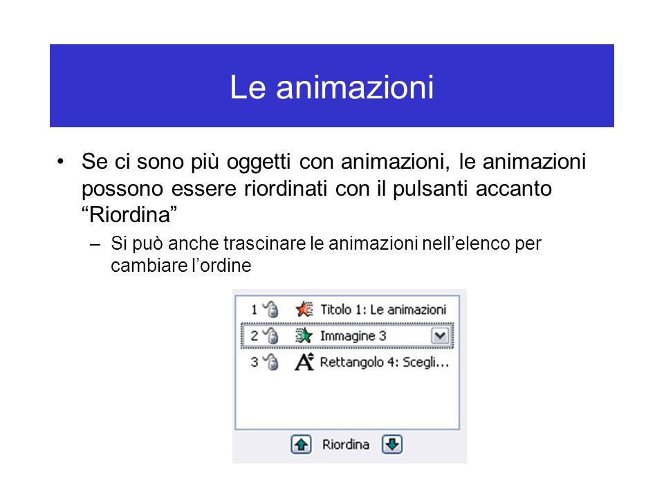 Le animazioni Se ci sono più oggetti con animazioni, le animazioni possono essere riordinati con il pulsanti accanto Riordina