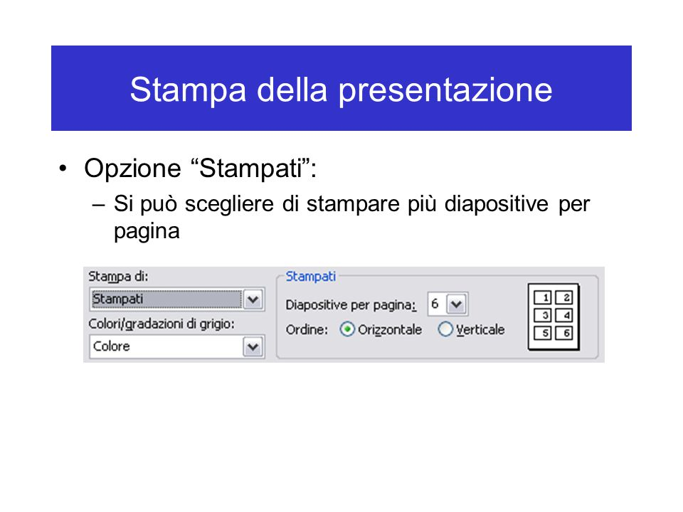 Stampa della presentazione