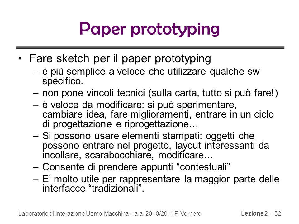 Paper prototyping Fare sketch per il paper prototyping