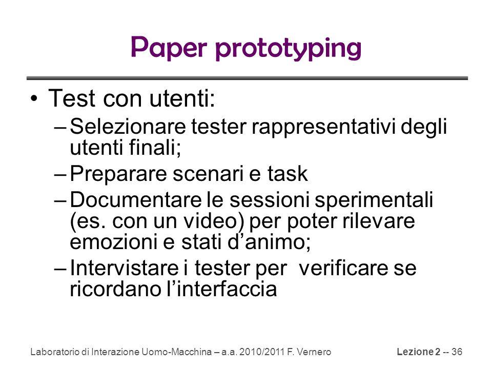 Paper prototyping Test con utenti: