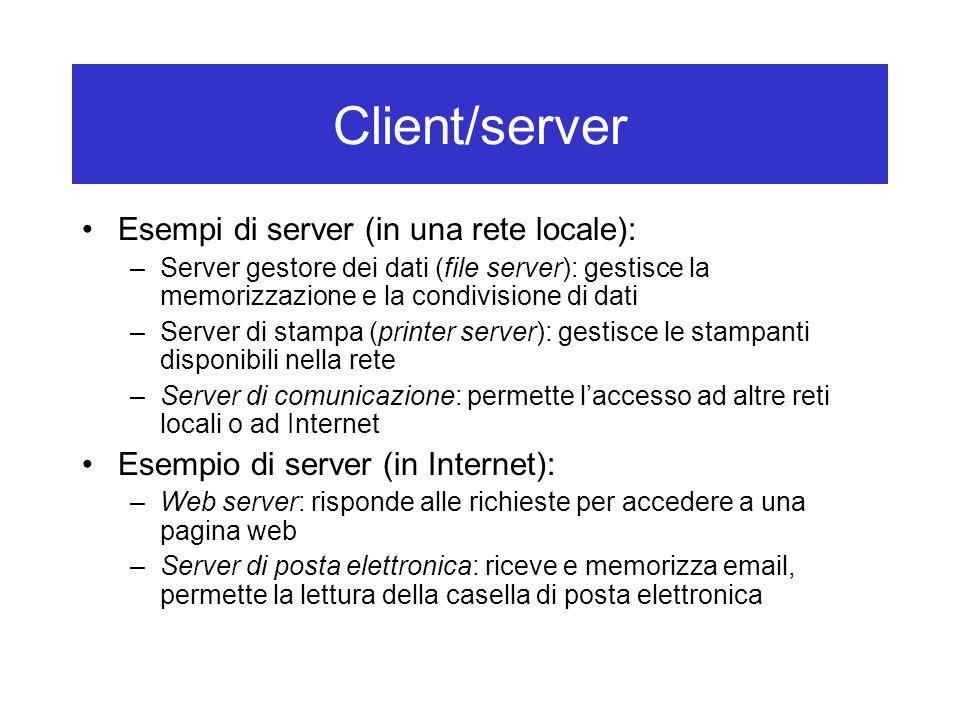 Client/server Esempi di server (in una rete locale):