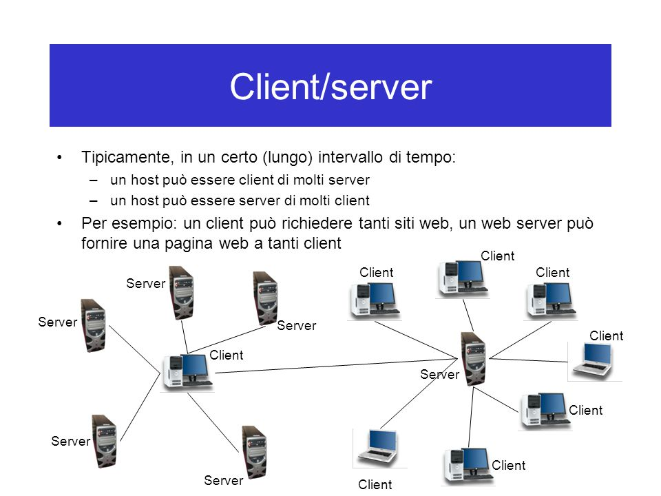 Client/server Tipicamente, in un certo (lungo) intervallo di tempo: