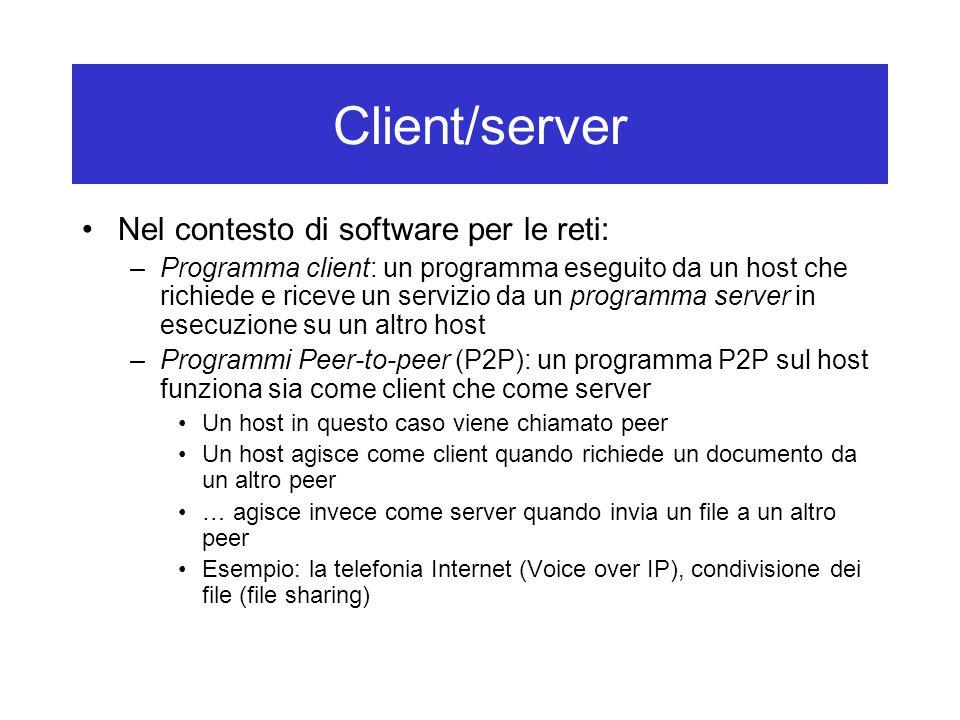 Client/server Nel contesto di software per le reti: