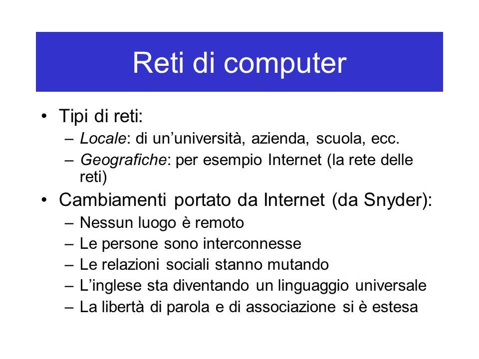 Reti di computer Tipi di reti: