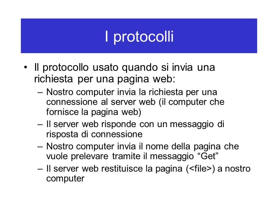 I protocolli Il protocollo usato quando si invia una richiesta per una pagina web: