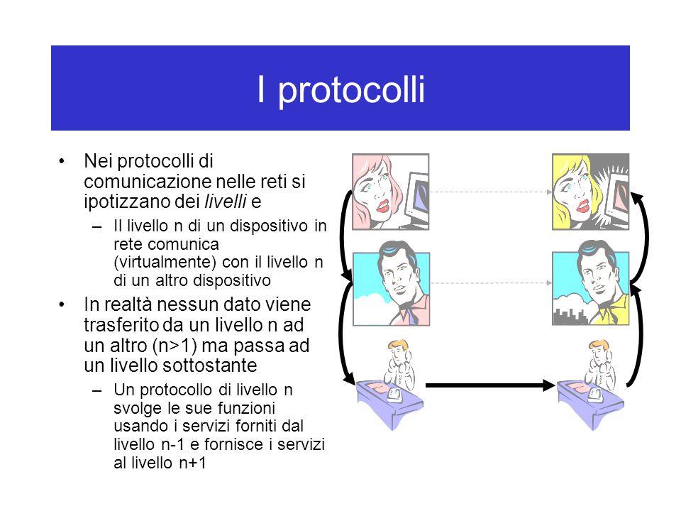 I protocolli Nei protocolli di comunicazione nelle reti si ipotizzano dei livelli e.