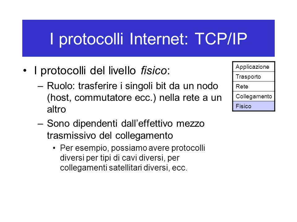 I protocolli Internet: TCP/IP