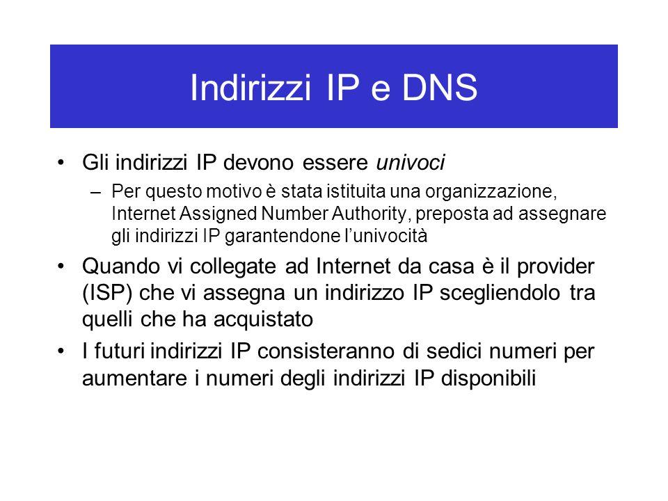 Indirizzi IP e DNS Gli indirizzi IP devono essere univoci