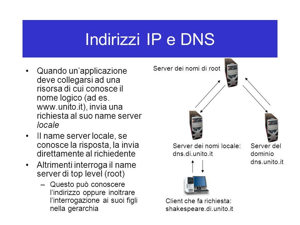 Indirizzi IP e DNS Server dei nomi di root.