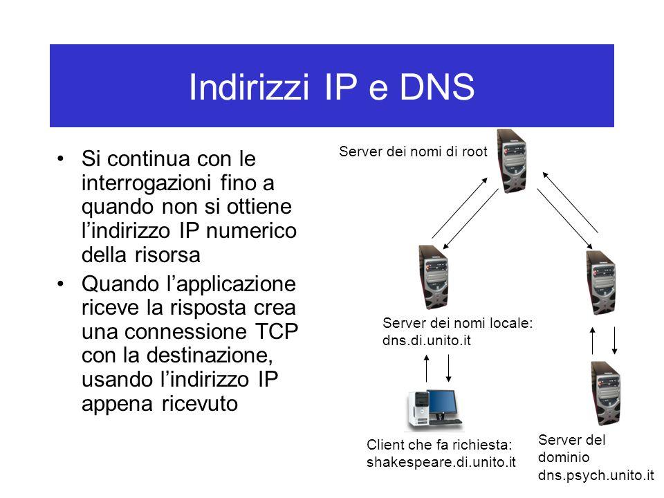 Indirizzi IP e DNS Server dei nomi di root. Si continua con le interrogazioni fino a quando non si ottiene l'indirizzo IP numerico della risorsa.