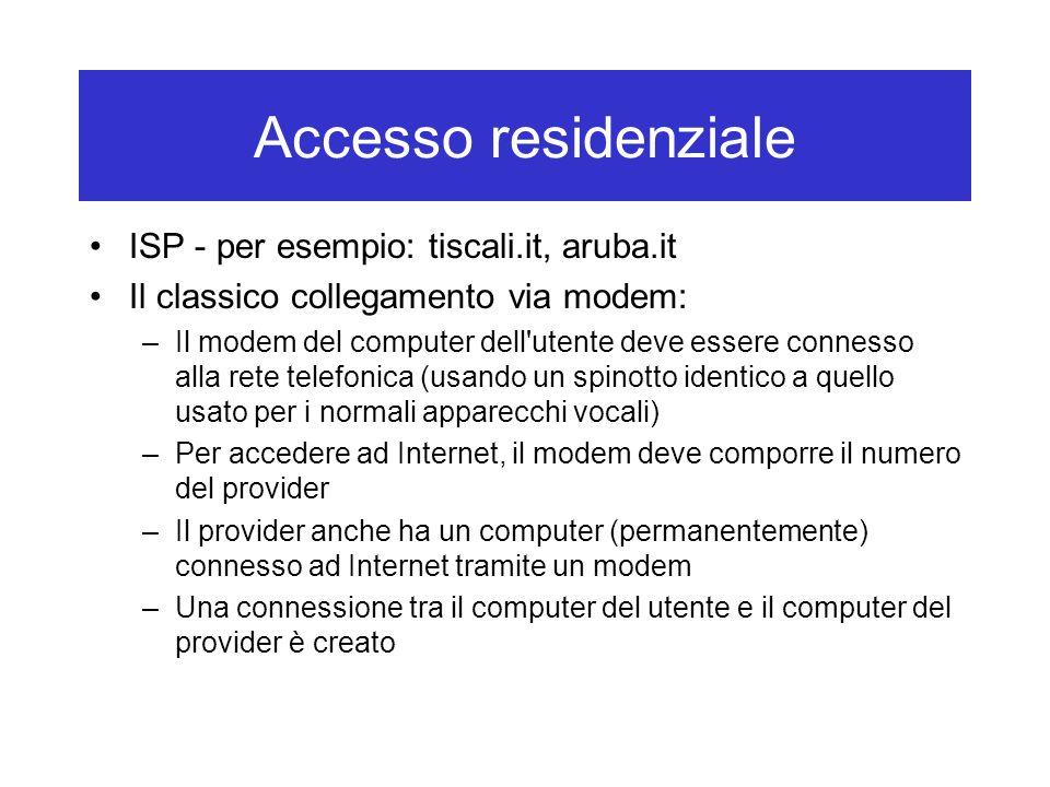Accesso residenziale ISP - per esempio: tiscali.it, aruba.it