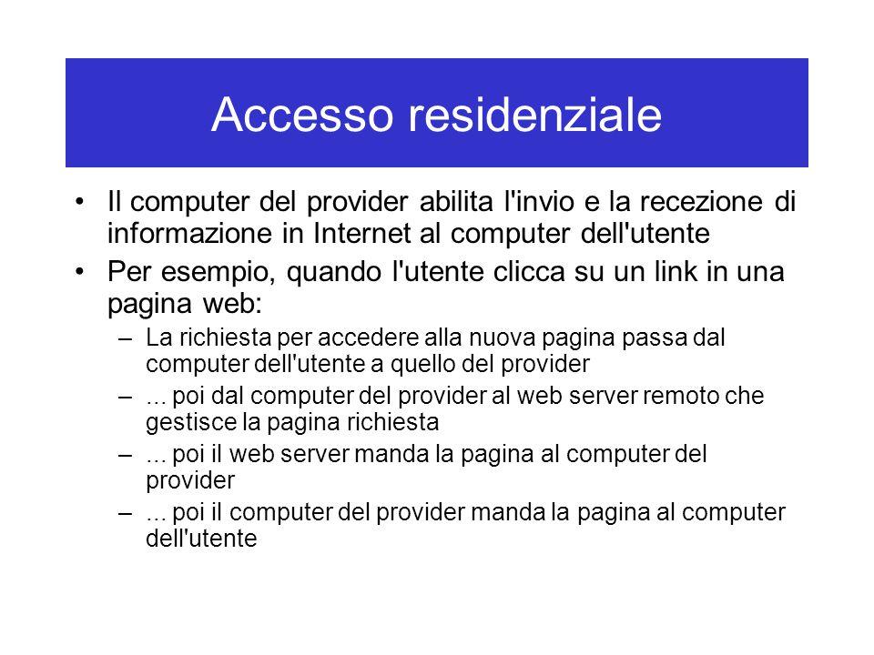 Accesso residenziale Il computer del provider abilita l invio e la recezione di informazione in Internet al computer dell utente.