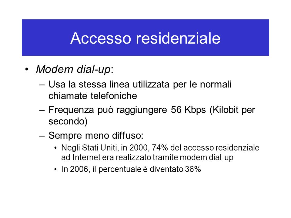Accesso residenziale Modem dial-up: