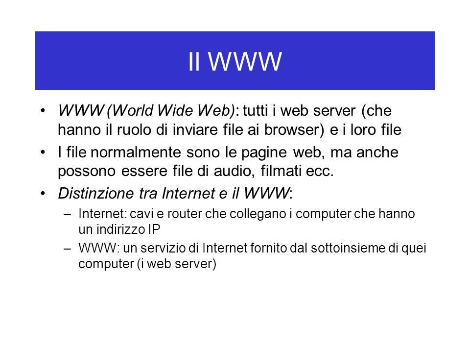 Il WWW WWW (World Wide Web): tutti i web server (che hanno il ruolo di inviare file ai browser) e i loro file.