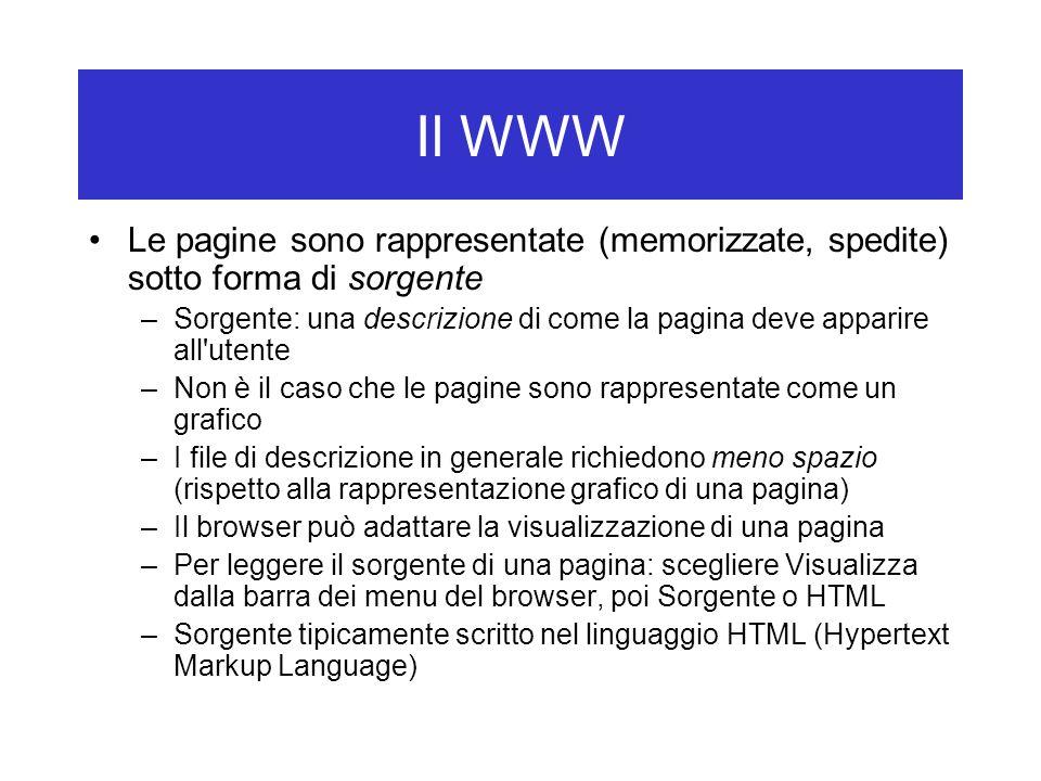 Il WWW Le pagine sono rappresentate (memorizzate, spedite) sotto forma di sorgente.