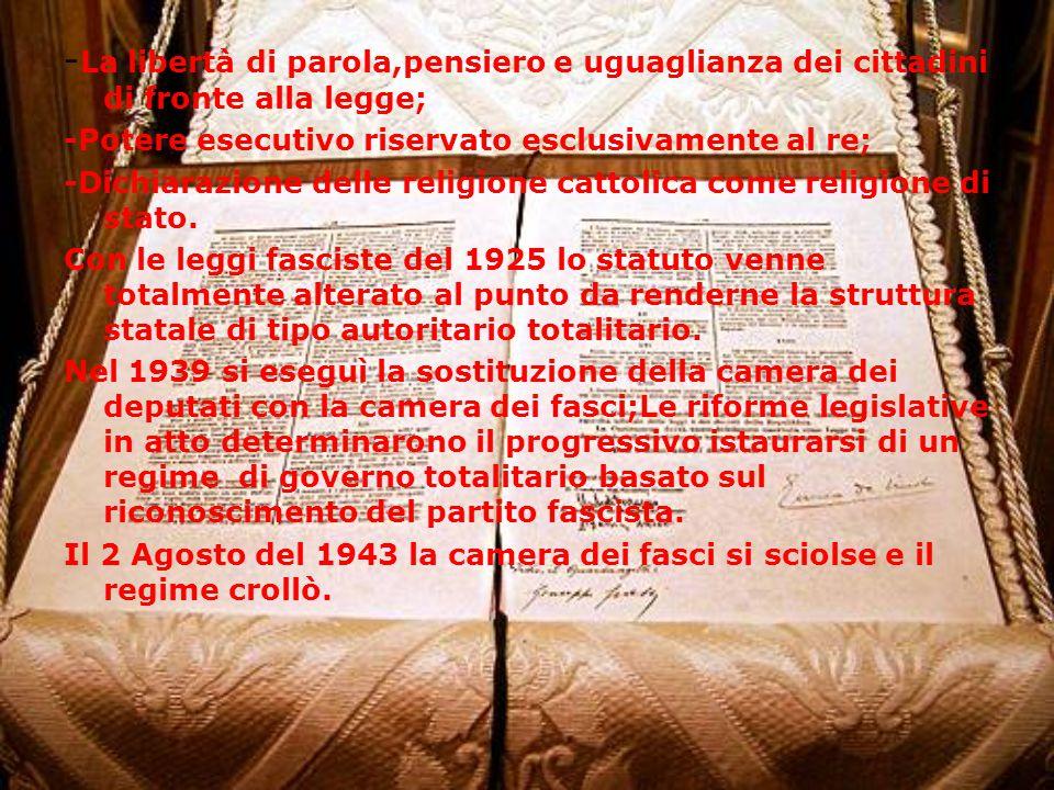 -La libertà di parola,pensiero e uguaglianza dei cittadini di fronte alla legge;