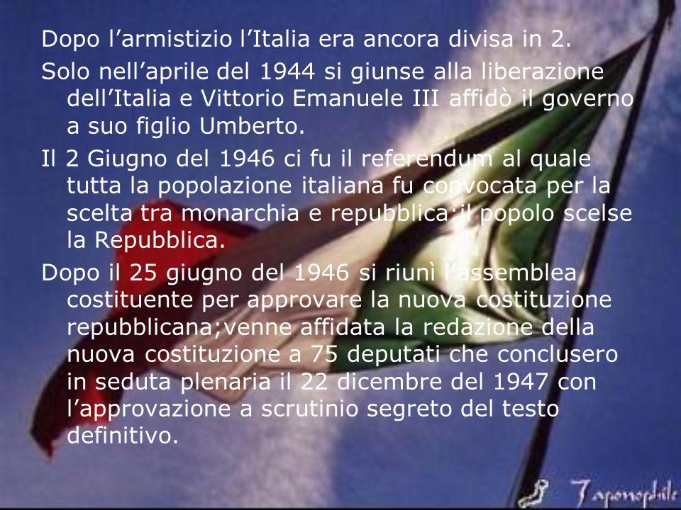 Dopo l'armistizio l'Italia era ancora divisa in 2