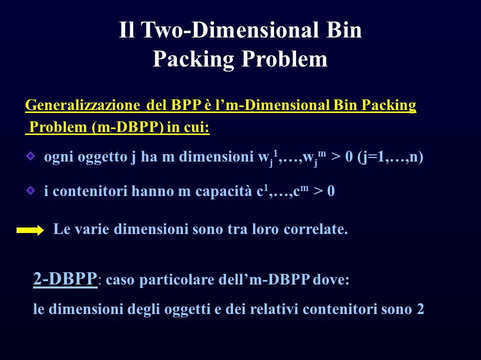 Il Two-Dimensional Bin Packing Problem