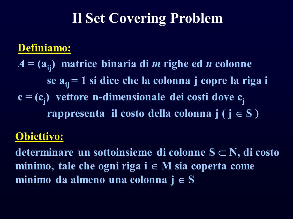 Il Set Covering Problem