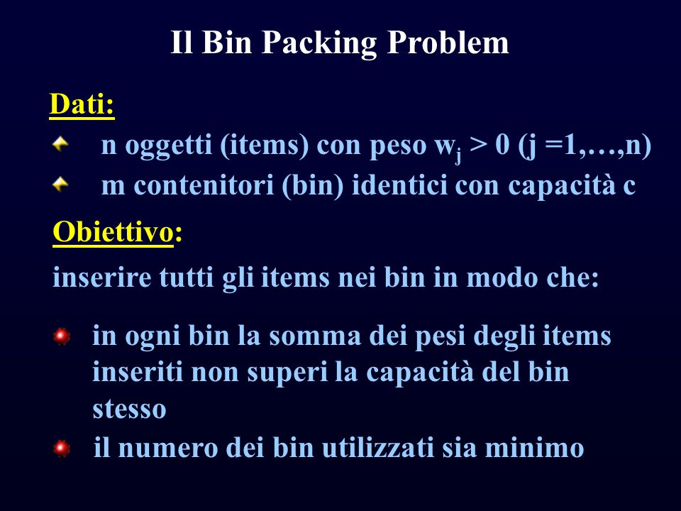 Il Bin Packing Problem Dati: