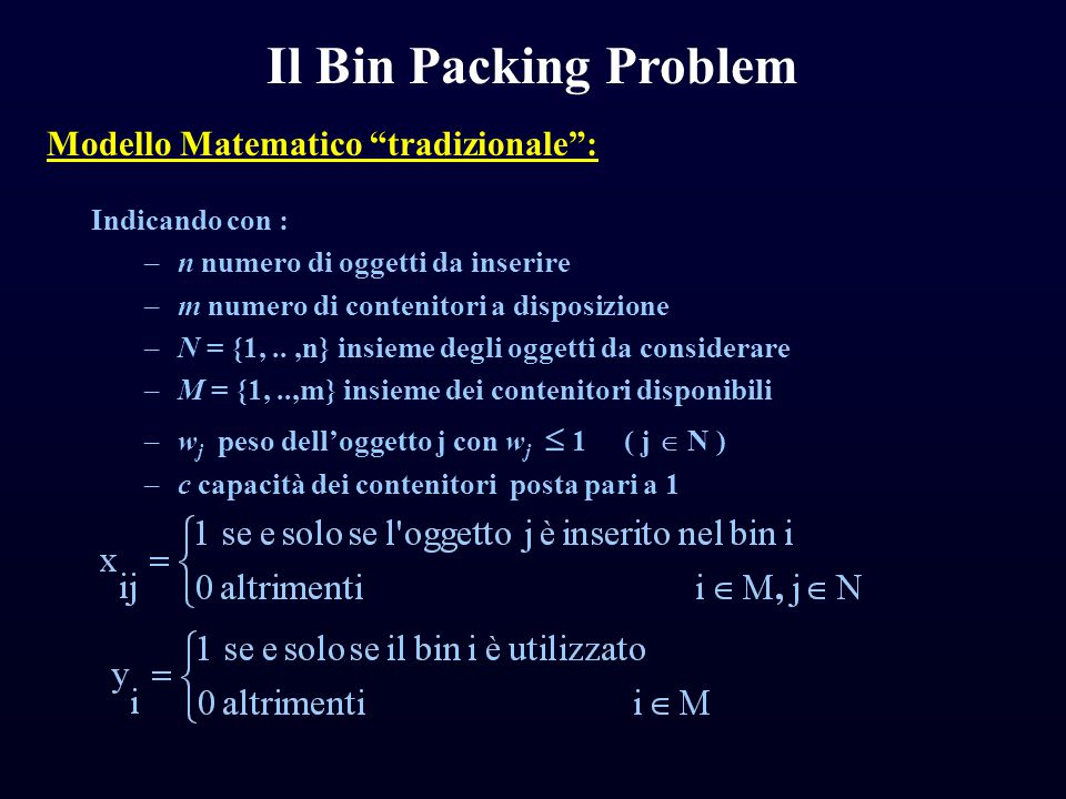 Il Bin Packing Problem Modello Matematico tradizionale :