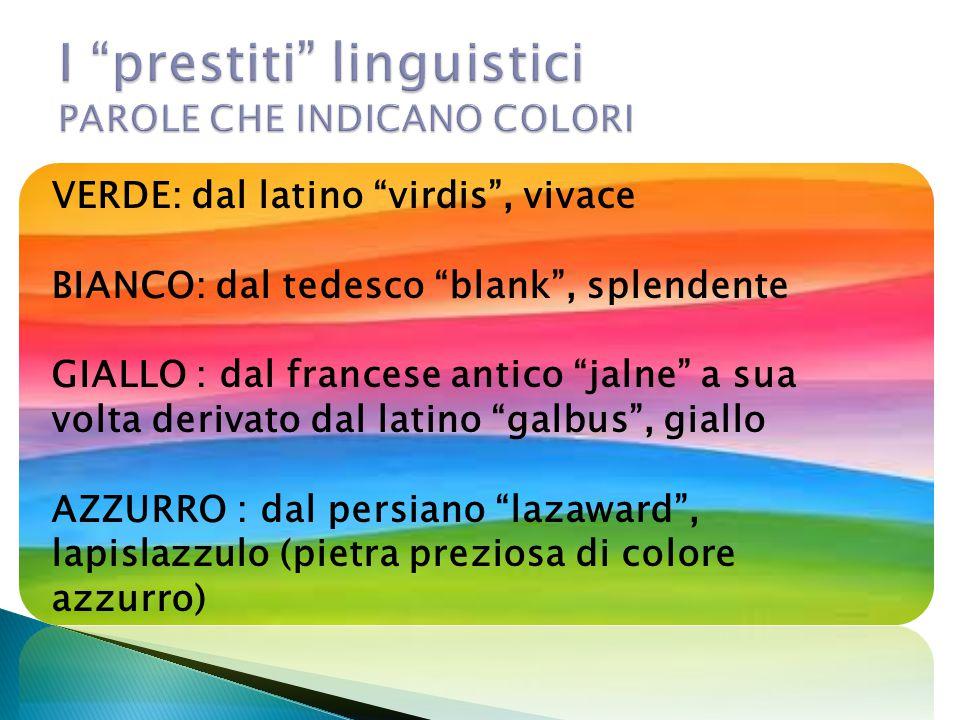 I prestiti linguistici PAROLE CHE INDICANO COLORI