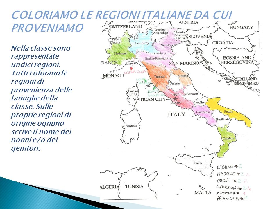 COLORIAMO LE REGIONI ITALIANE DA CUI PROVENIAMO