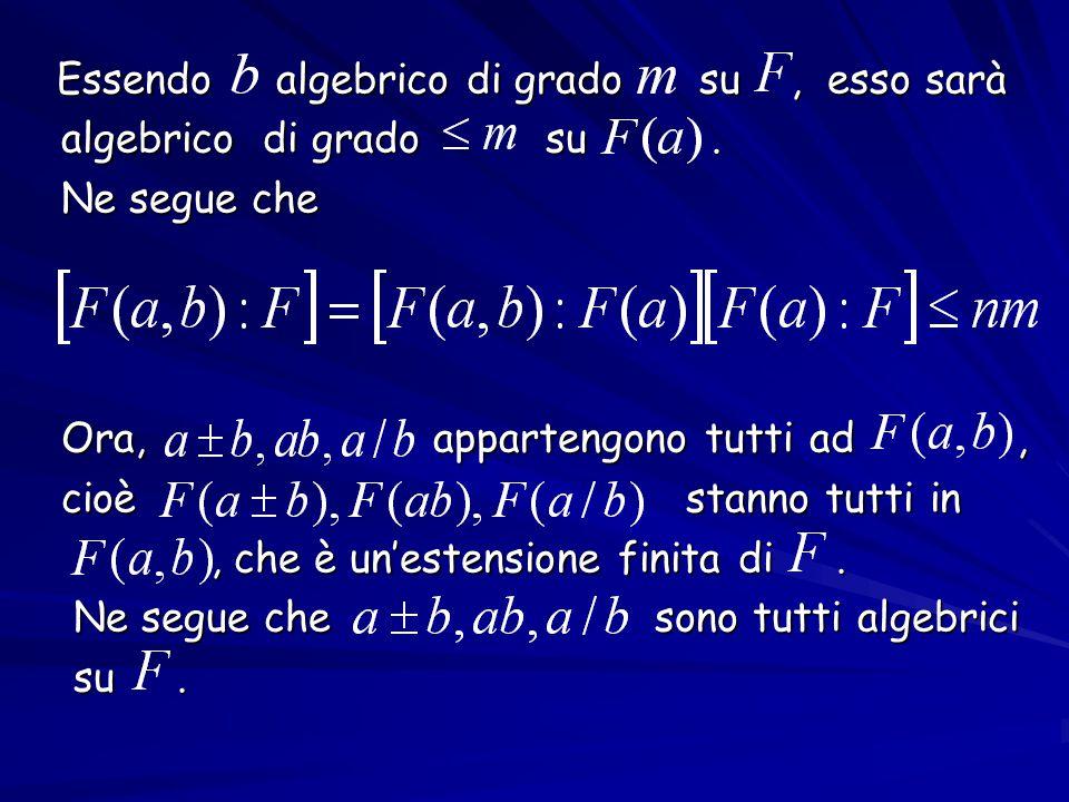 Essendo algebrico di grado su , esso sarà