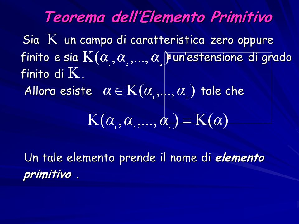 Teorema dell'Elemento Primitivo