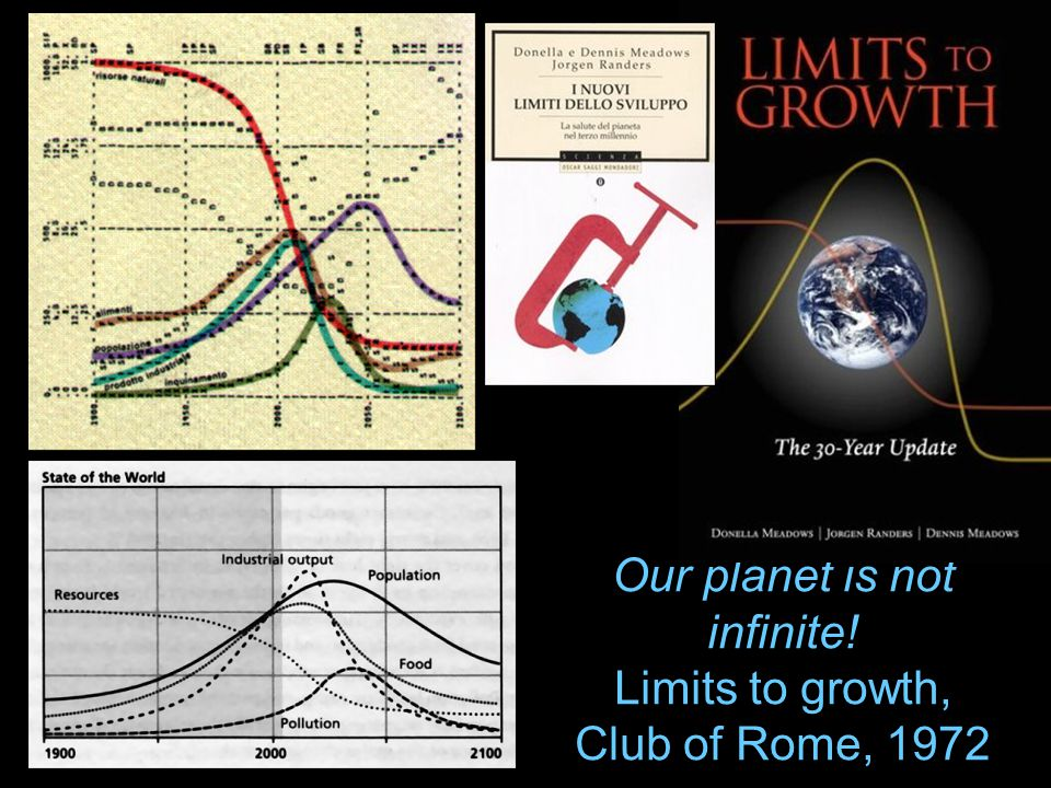 Our planet is not infinite! Limits to growth, Club of Rome, 1972
