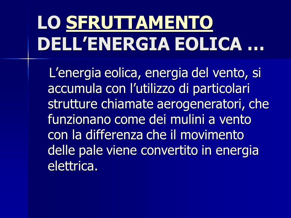 LO SFRUTTAMENTO DELL'ENERGIA EOLICA …