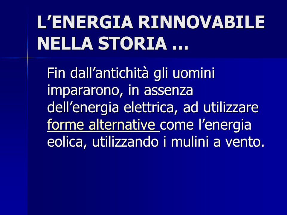 L'ENERGIA RINNOVABILE NELLA STORIA …