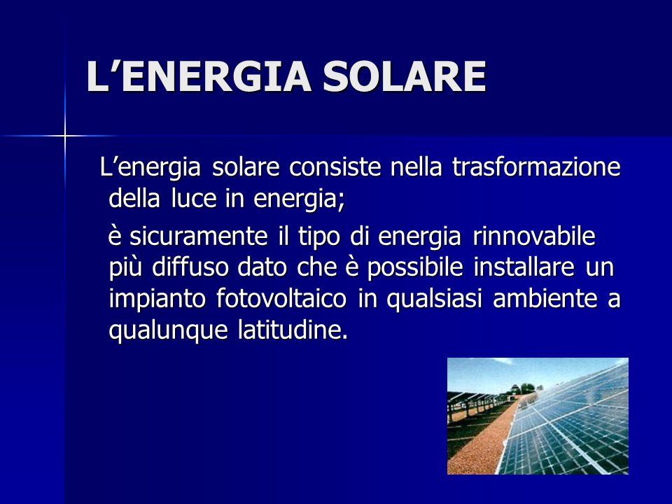 L'ENERGIA SOLARE L'energia solare consiste nella trasformazione della luce in energia;