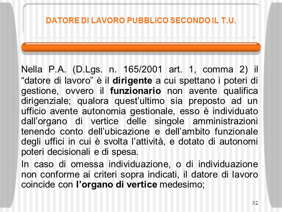 DATORE DI LAVORO PUBBLICO SECONDO IL T.U.