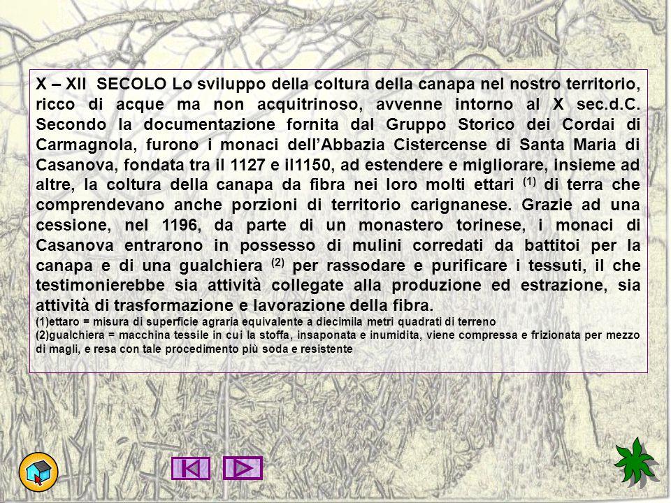 X – XII SECOLO Lo sviluppo della coltura della canapa nel nostro territorio, ricco di acque ma non acquitrinoso, avvenne intorno al X sec.d.C. Secondo la documentazione fornita dal Gruppo Storico dei Cordai di Carmagnola, furono i monaci dell'Abbazia Cistercense di Santa Maria di Casanova, fondata tra il 1127 e il1150, ad estendere e migliorare, insieme ad altre, la coltura della canapa da fibra nei loro molti ettari (1) di terra che comprendevano anche porzioni di territorio carignanese. Grazie ad una cessione, nel 1196, da parte di un monastero torinese, i monaci di Casanova entrarono in possesso di mulini corredati da battitoi per la canapa e di una gualchiera (2) per rassodare e purificare i tessuti, il che testimonierebbe sia attività collegate alla produzione ed estrazione, sia attività di trasformazione e lavorazione della fibra.