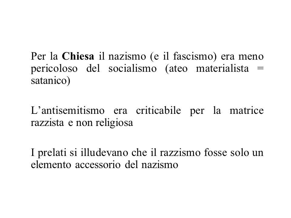 Per la Chiesa il nazismo (e il fascismo) era meno pericoloso del socialismo (ateo materialista = satanico)