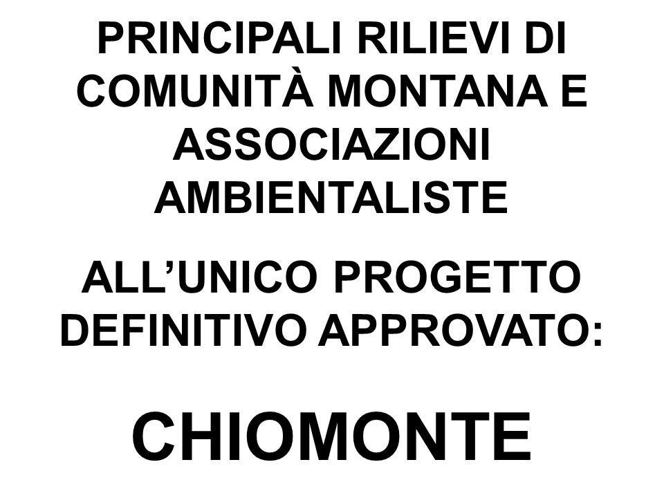 PRINCIPALI RILIEVI DI COMUNITÀ MONTANA E ASSOCIAZIONI AMBIENTALISTE