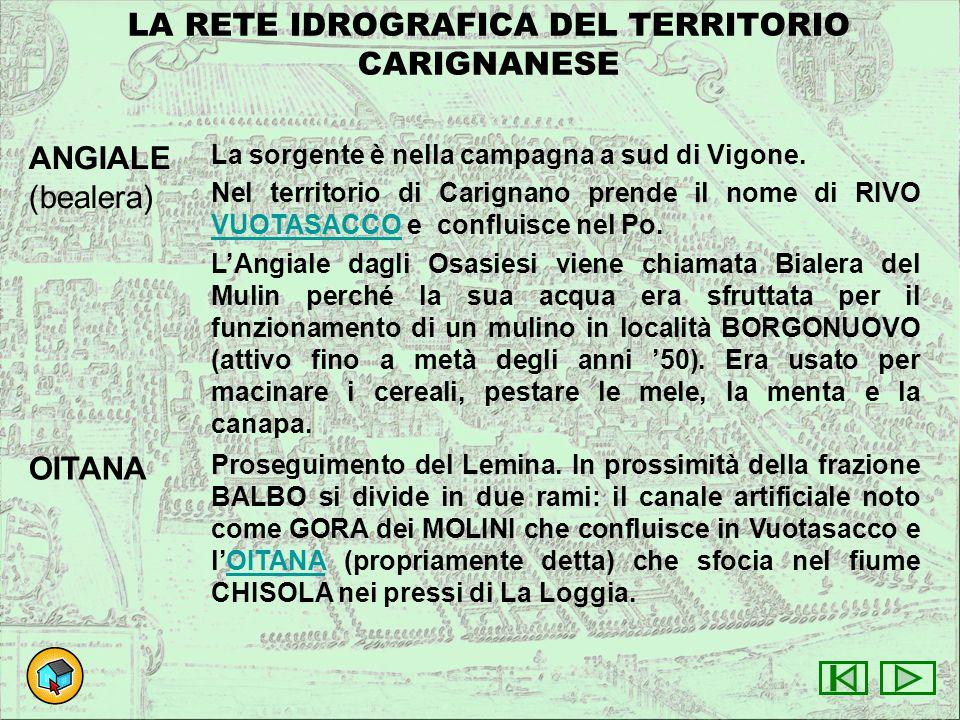 LA RETE IDROGRAFICA DEL TERRITORIO CARIGNANESE