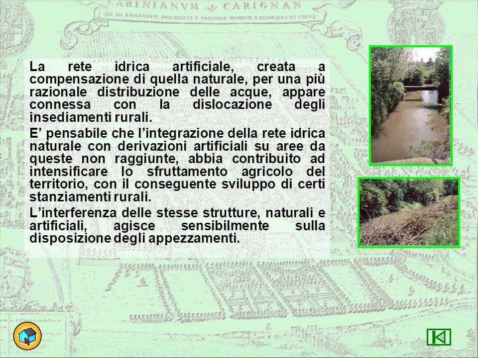 La rete idrica artificiale, creata a compensazione di quella naturale, per una più razionale distribuzione delle acque, appare connessa con la dislocazione degli insediamenti rurali.
