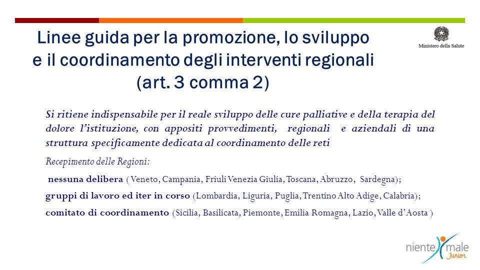 Linee guida per la promozione, lo sviluppo e il coordinamento degli interventi regionali