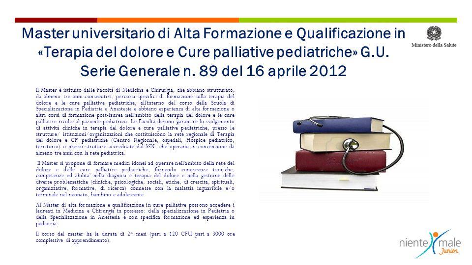 Master universitario di Alta Formazione e Qualificazione in «Terapia del dolore e Cure palliative pediatriche» G.U. Serie Generale n. 89 del 16 aprile 2012
